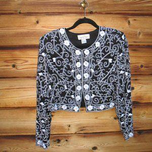 Vintage Black White Silk Beaded Cropped Jacket